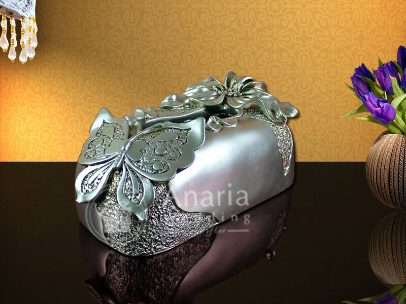 Butterfly Tissue box Silver