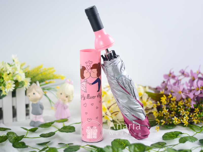 Pink Bottle Umbrella Character